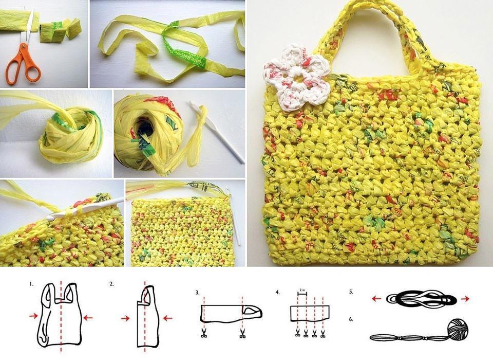 Como fazer uma bolsa com sacolas de mercado